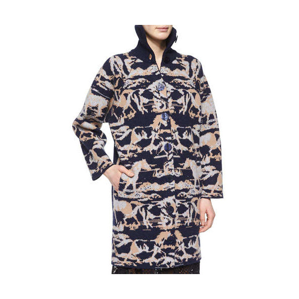 See by Chloe Horse-Print Jacquard Car Coat