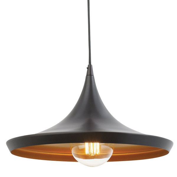 Globe Electric 63872 Vintage Pendant Light, Oil-Rubbed Bronze Finish with Gold Inside