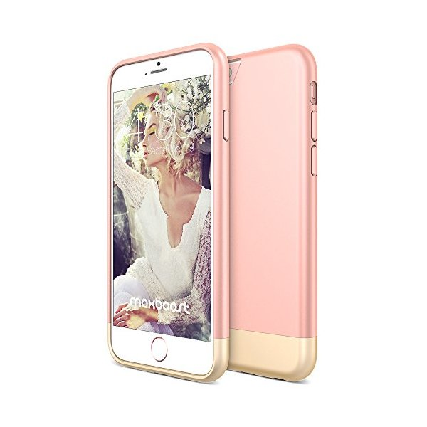 iPhone 6S Case, Maxboost® [Vibrance S] iPhone 6 6S Case (4.7 Inch) Slider Style [Lifetime Warranty] Protective Hard Cover - Rose/Champagne Gold