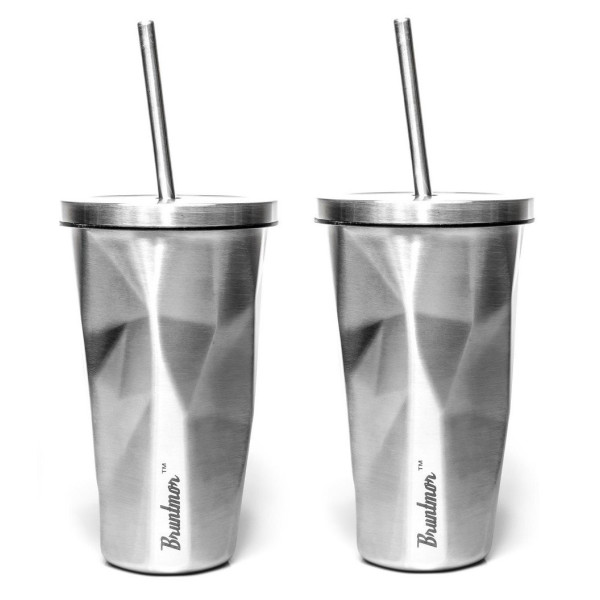 Bruntmor Double Wall Chiseled Tumblers, 18/8 Stainless Steel With Straw 16oz Set of 2, Brushed Steel
