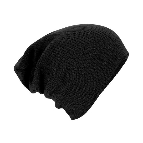 Beechfield Unisex Slouch Winter Beanie Hat (One Size) (Black)