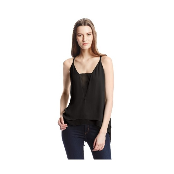 BCBGMAXAZRIA Women's Lyssa Splitback Cami Top, Black, Large