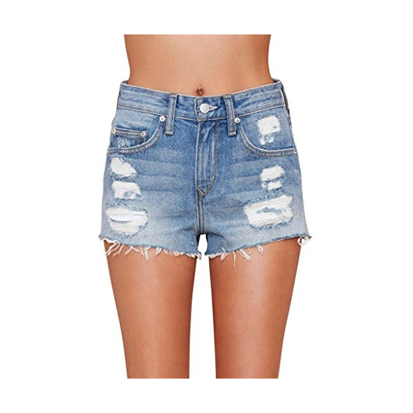 Women's Distressed Short Vintage Levi's Frayed Shorts Denim High Rise-L