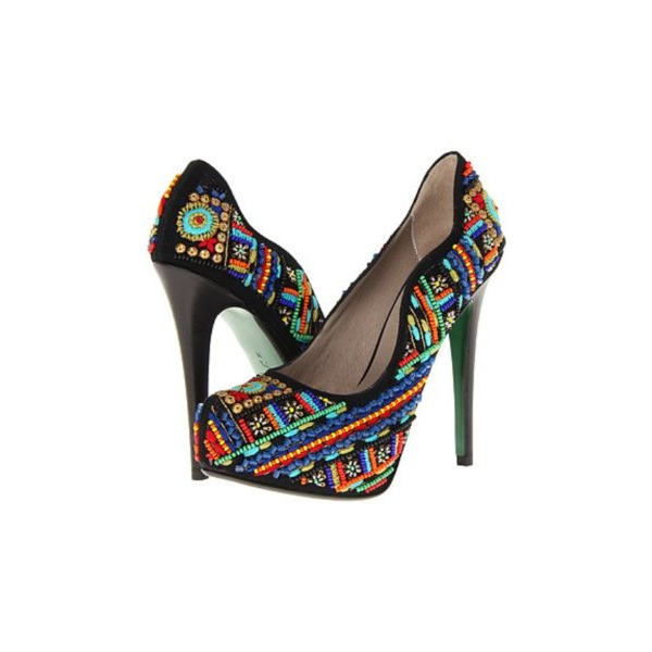 Lisa for Donald Pliner Alexis Tapestry Embroidered Beaded Italian Womens Platform Pump Heels 8.5