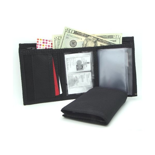 MEN'S TRIFOLD WALLET with INSIDE ID - NYLON VELCRO - BLACK - Made in U.S.A