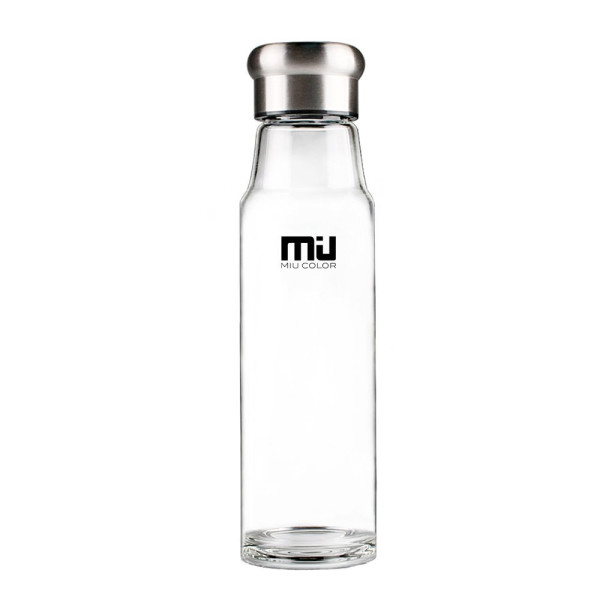 MIU COLOR® Stylish Portable Handmade Crystal Glass Water Bottle with Nylon Sleeve (18.5 Ounces, Designed in Switzerland) (Rose Red Sleeve without Tea Infuser)