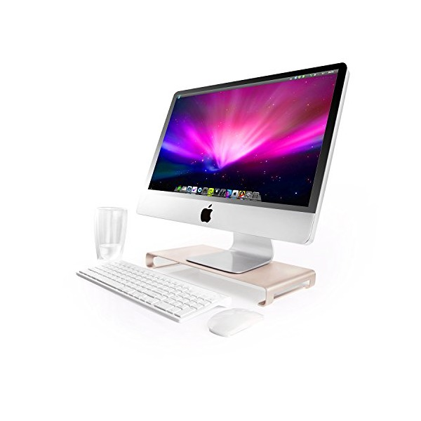 Jelly Comb Aluminum Unibody Monitor / Laptop / iMac Stand W Keyboard Storage, Gold