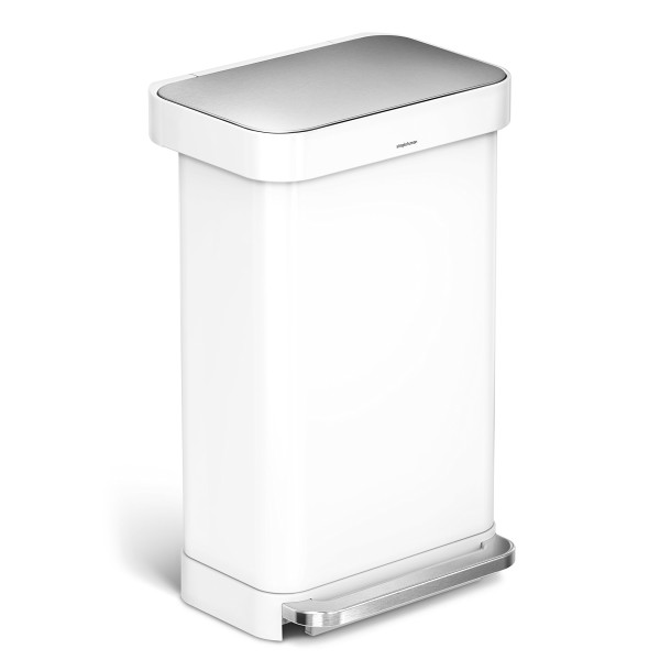 simplehuman Liner Rim Rectangular Step Trash Can with Liner Pocket, 45 Liter