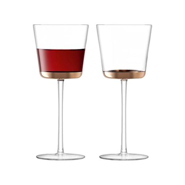 LSA International Edge Red Wine Glass (2 Pack), 11 fl. oz., Rose Gold