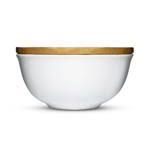 Sagaform Stoneware Keep Bowl with Oak Lid, Large