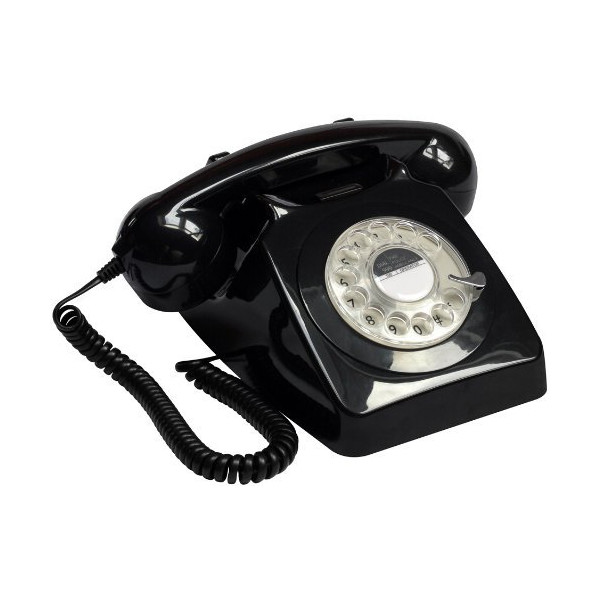 Retro Classic 60s 70s GPO BT 746 Black Rotary Dial Telephone - Replica
