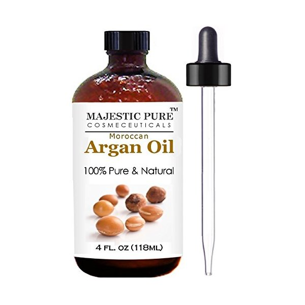 Moroccan Argan Oil for Hair and Face From Majestic Pure,  100% Natural, Organic, Cold Pressed & Triple Extra Virgin Grade 1 Argan Oil - 4 Oz