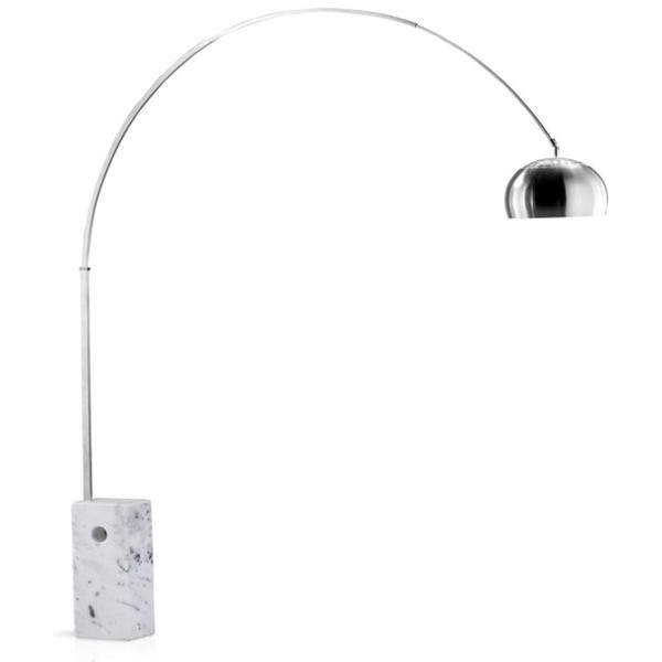 Kardiel Arco Style Floor Lamp, White Marble Rectangle Base