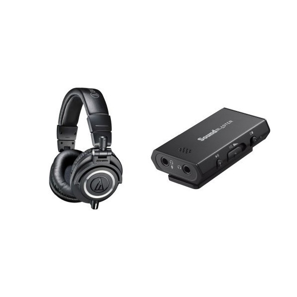 Audio-Technica ATH-M50x Professional Studio Monitor Headphones with Creative Sound Blaster Portable Headphone Amp