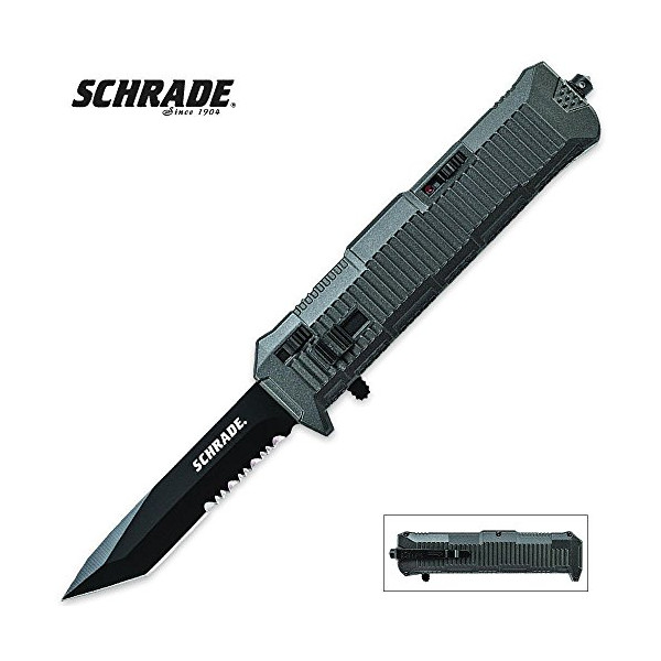 Schrade OTF V8, Black Handle, Black Tanto Serrated Edge Blade