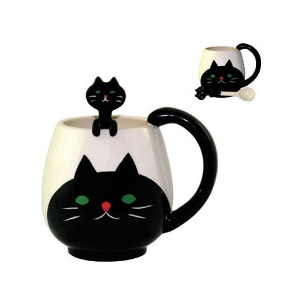 Decole Cat Manmaru Mug + Spoon