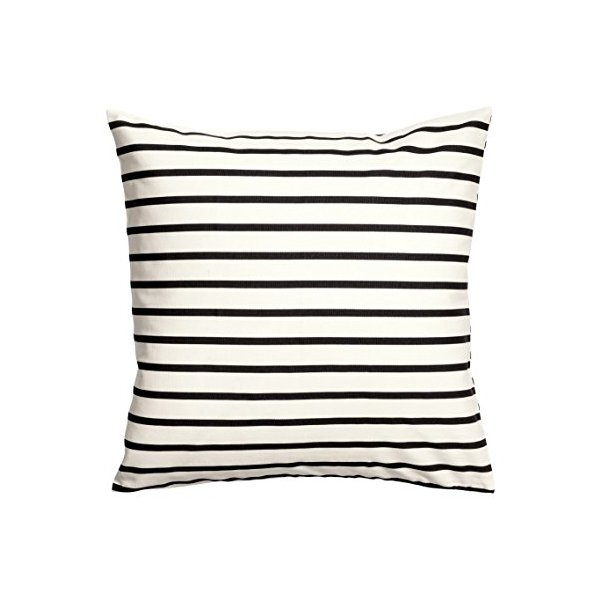 Striped Cushion Cover Accent Decorative 100% Cotton Canvas Stripe Throw Pillow Cover Cushion 20-by-20 inch Black White