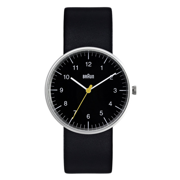 Braun Men's Analog Watch, Black Face and Black Leather Band
