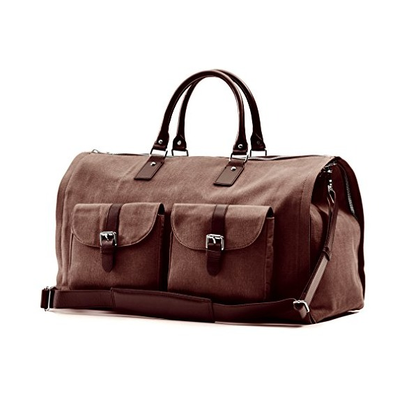 Hook and Albert Men's Waxed Canvas Garment Weekender Bag, Brown