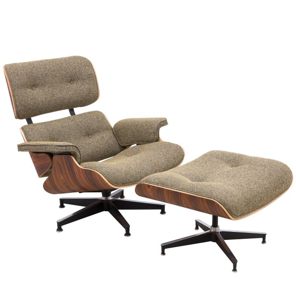 LeisureMod Modern Classic Plywood Zane Lounge Chair & Ottoman with Palisander (Oatmeal Wool)