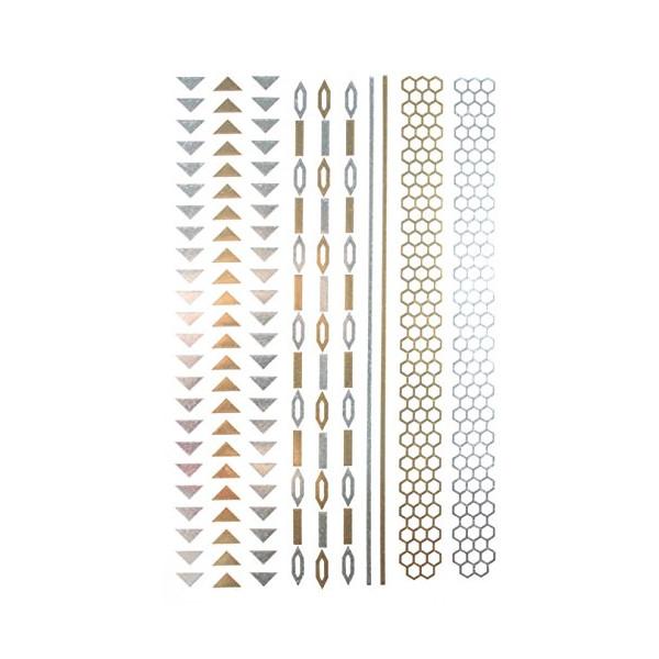 "Gold & Silver & Black Jewelry design Metallic Temporary Tattoos, tattoo Size: 8.27"" x 5.51"""