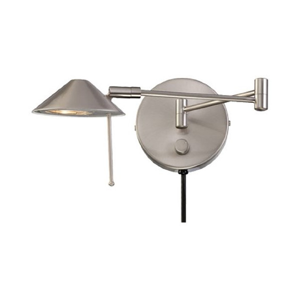 Lite Source LS-16350PS Rhine Swing Arm Wall Lamp with Metal Polished Steel Shade, Polished Steel