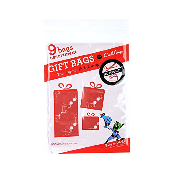 CoolWraps, Shrink Wrap Gift Bags, Hearts pattern