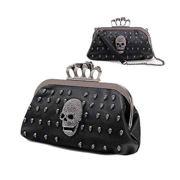 Women Skull Heads Knuckle Chain Ring Handbag PU Leather Bags Clutch Purse Z_G