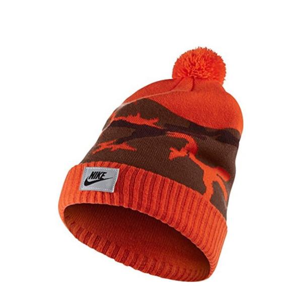 Nike Camo Pom Beanie Hat, Orange/Lotus/Mahagony