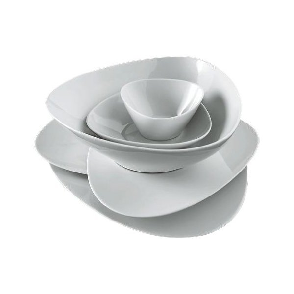Alessi Colombina 8-1/4-Inch by 7-Inch Soup Plate, White Porcelain, Set of 6