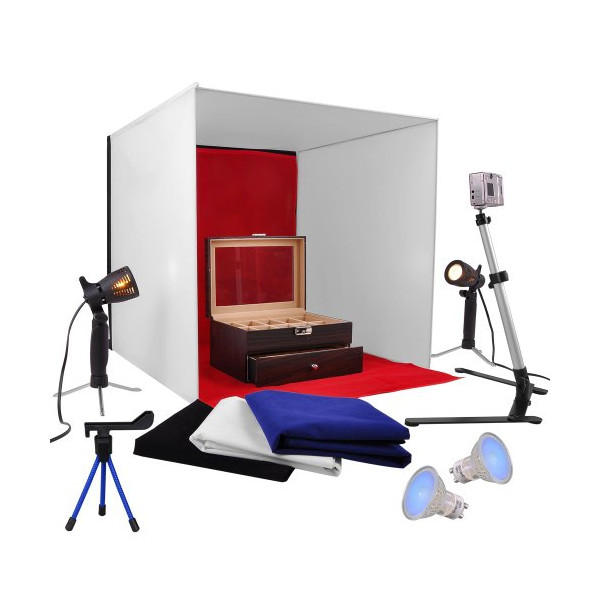 "24"" Photo Studio Lighting Softbox Photography Tent Kit with 4 Backdrops +2 X 75w Table Lights+camera Stand + Mini Phone Stand in a Box"