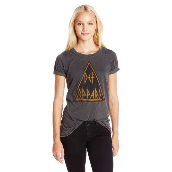 "Chaser Women's ""Def Leppard"" Graphic Short Sleeve Tee, Vintage Black, X-Small"
