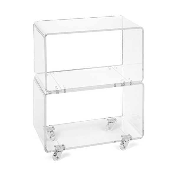 "Acrylic Rolling Cart in Clear - Perfect as a Bar Cart, Office Bookcase, Bedroom Nightstand, or Livingroom Display Case - Modern Design - 1/2"" Thick High-Quality Acrylic - No Assembly Required"