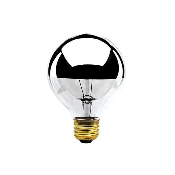 Bulbrite Half Chrome 60W Globe Bulb, Pack of 1