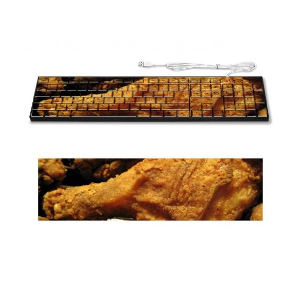 Fried Chicken Drumstick Crispy Food Keyboard Customized Made to Order Support Ready 16 7/8 inch (430mm) x 4 7/8 inch (125mm) x 15/16 inch (25mm) High Quality Liil Key board Boards desktop laptop Key_board comfortable computer accessories cute gaming gear