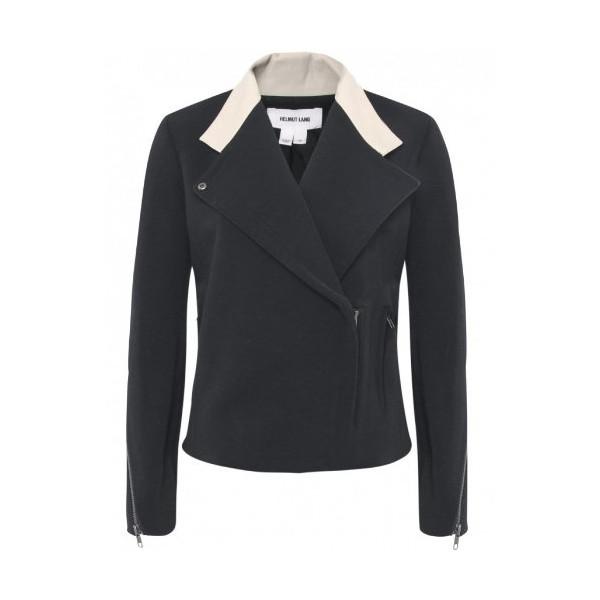 Helmut Lang Performa Fitted Leather Trim Jacket M BLK/CREM