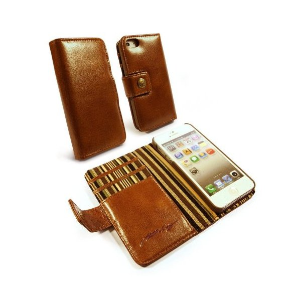 Alston Craig Vintage Genuine Leather Wallet Case Cover for Apple iPhone 5/5s - Brown - Carrying Case - Retail Packaging - brown