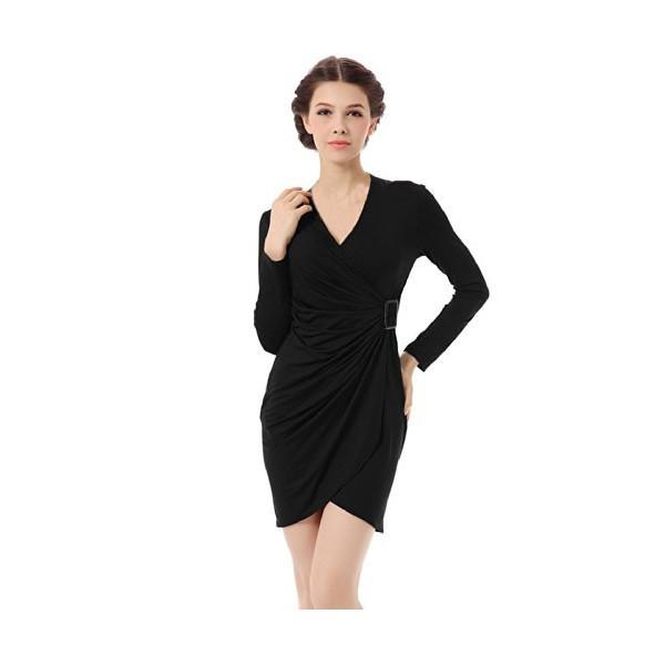 Allegra K Woman V Neck Long Sleeve Ruched Cocktail Wrap Dress