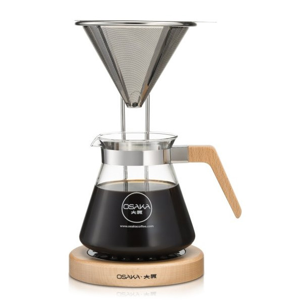 Osaka Pour-Over Coffee Dripper with Wood Stand, Natural
