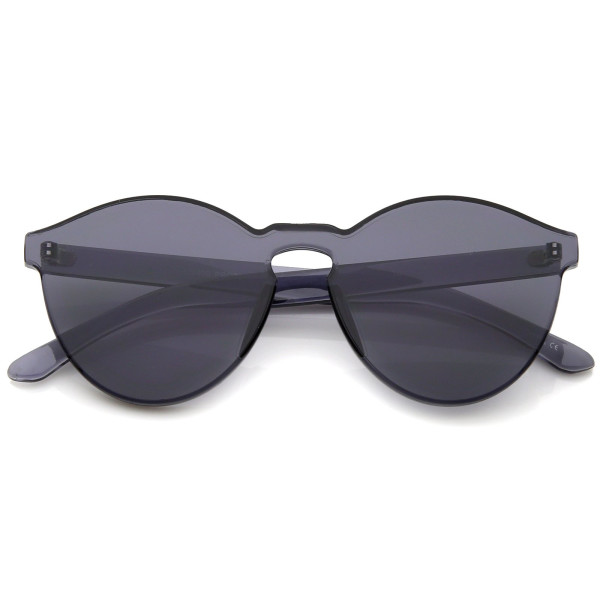 zeroUV, One Piece PC Lens Rimless Ultra-Bold Colorful Mono Block Sunglasses 60mm (Black)