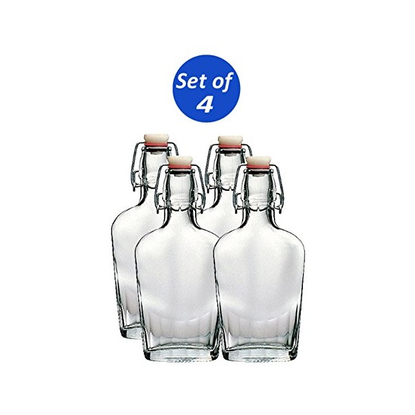 Bormioli Rocco Fiaschetta Glass 8.5 Ounce Pocket Flask, Set of 4