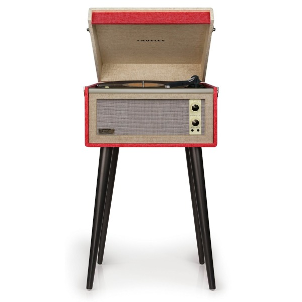 Crosley CR6233A-RE Dansette Bermuda 2-Speed Turntable Record Player (Red)