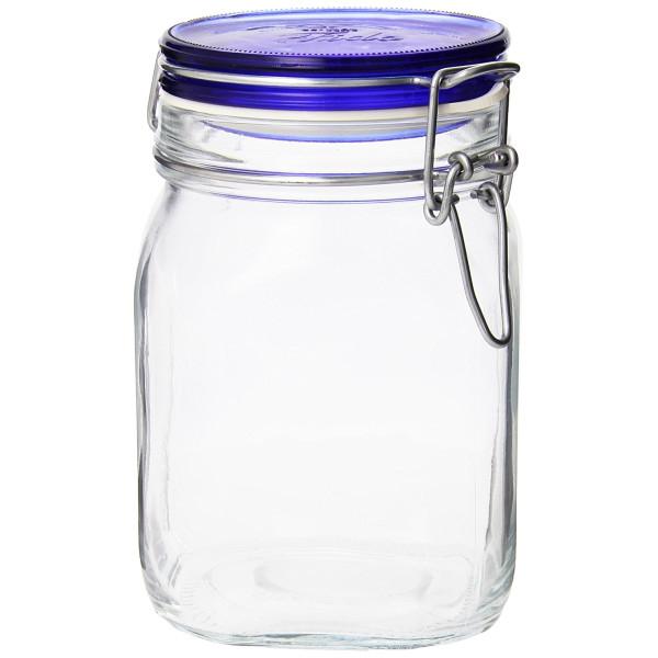 Bormioli Rocco Fido Square Jar with Blue Lid, 33-3/4-Ounce