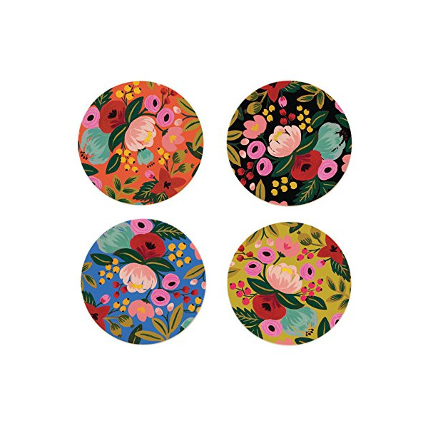 Floral Coaster Set by Rifle Paper Co. -- Set of 8 Coasters in 4 Designs