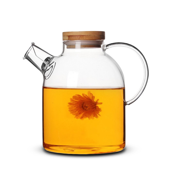 Artcome Glass Teapot with Bamboo Lid and Stainless Strainer, 62 Oz