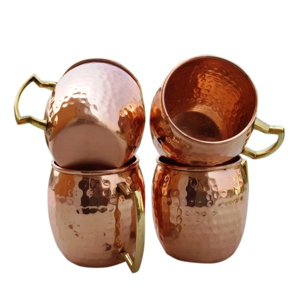 Hammered Copper Moscow Mule Mug Handmade of 100% Pure Copper, Brass Handle Hammered Moscow Mule Mug / Cup....