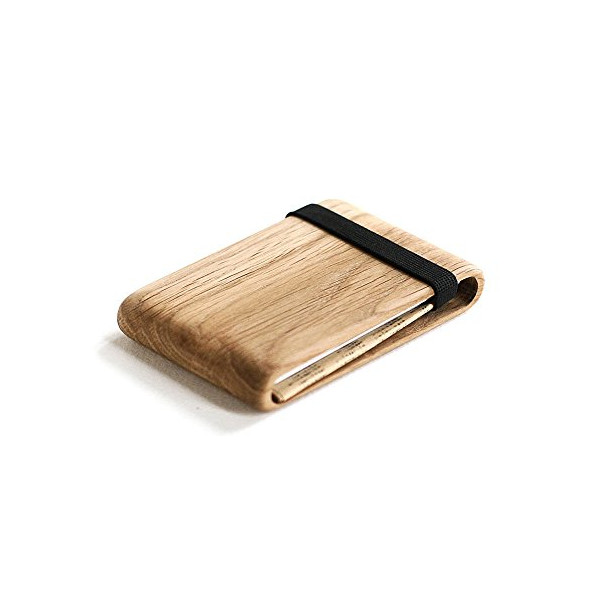 Wood Wallet, Oak Wood w/ Elastic Band