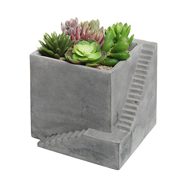 Modern Square Gray Cement Cube Building & Stairs Design Succulent Planter Pot / Small Plant Box - MyGift®