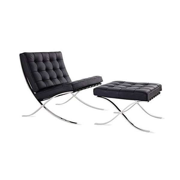 Mid Century Modern Classic Barcelona Style Replica Premium Lounge Chair & Ottoman With Real Black Leather and Stainless Steel Frame