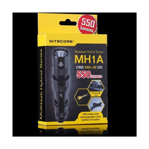 NiteCore MH1A 550-Lumen CREE XM-L U2 LED Rechargeable Flashlight, Black